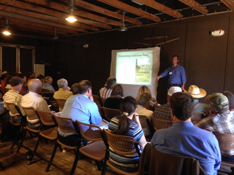 Workshop participants at Sunday School Barn at Heritage Park, Dublin, learning about about what makes a good grazing lease.